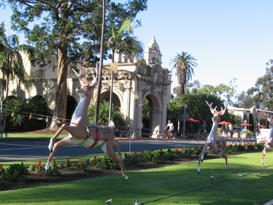 santa's reindeer fly through balboa park
