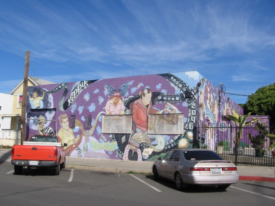 Huge mural on Barrio Logan Kippy's building.