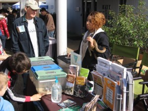 02 Nonprofit organizations display info in front of Visitor Center for Cabrillo centennial.
