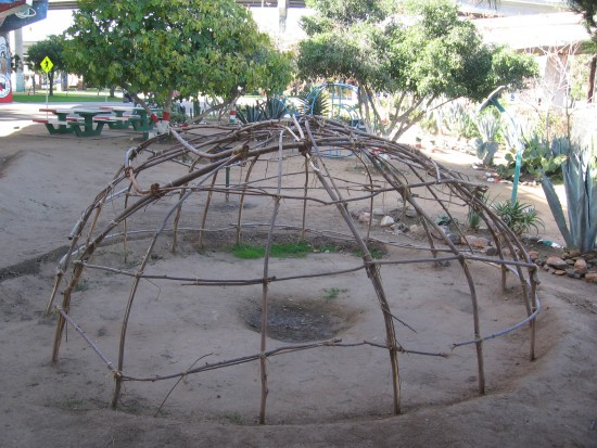 Primitive frame made of bent branches.