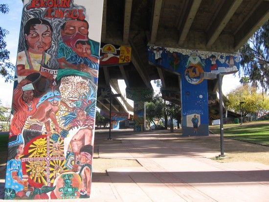 03 View of painted murals under ramps to southbound I-5.