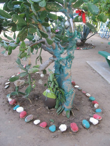 Colored stones ring a painted cactus in Chicano Park.