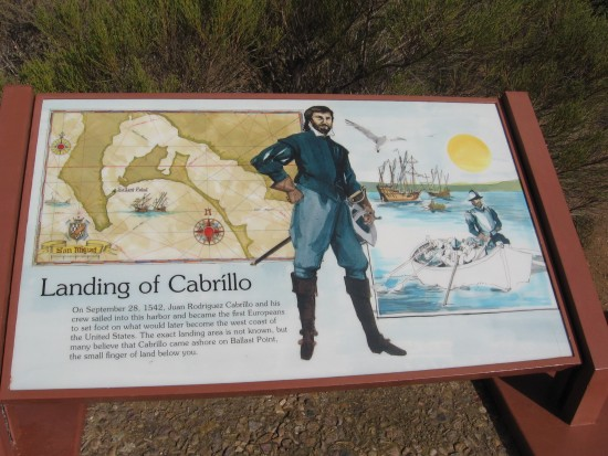 05 Park sign shows where Cabrillo entered San Diego Bay in 1542.