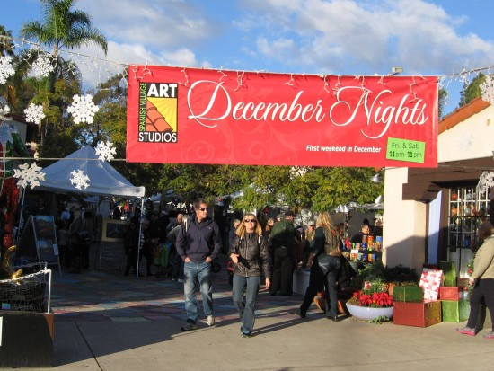 December Nights crowd grows in Spanish Village by late afternoon.