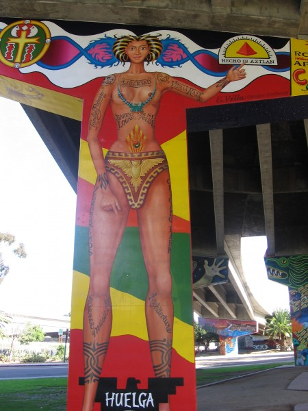 06 Elongated Aztec figure adds character to Chicano Park.