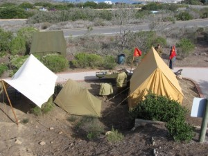 07 Tents of Army camp set up as historical reenactment.