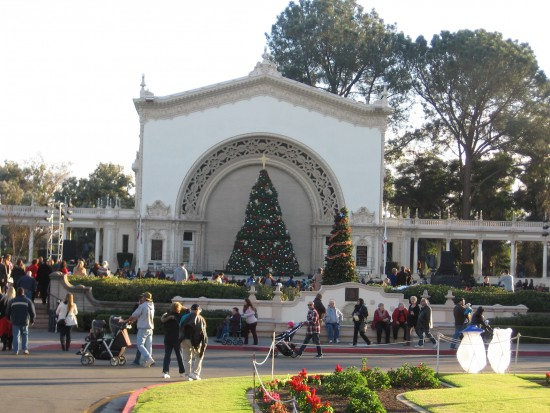 An enormous Christmas tree decorates the stage of the Spreckels Organ Pavilion.
