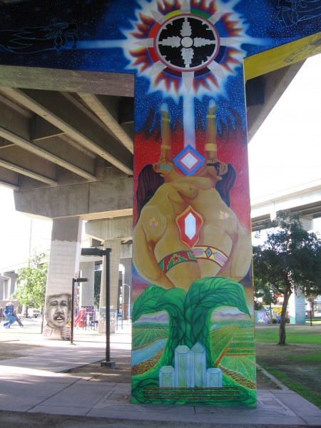 09 Vivid colors on concrete pillars supporting a San Diego freeway.