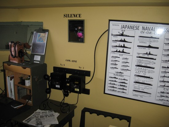 11 A chart inside the bunker identifies Japanese warships.