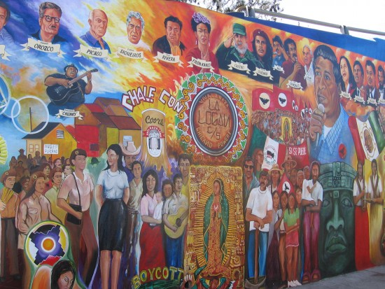Controversial mural on the east side of Chicano Park.