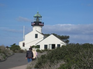 12 People walk toward the old Cabrillo lighthouse.