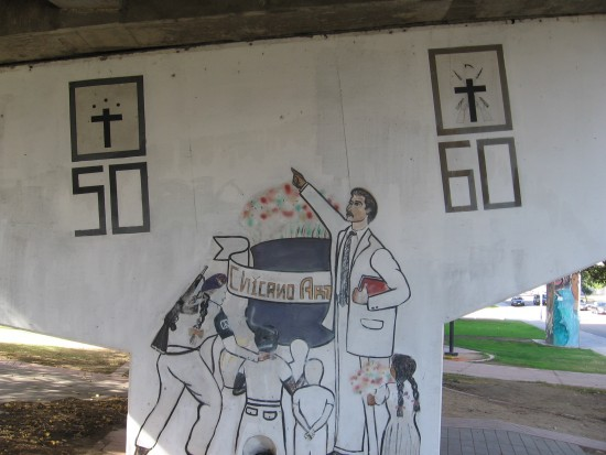 20 Chicano art includes children and revolutionary with gun.