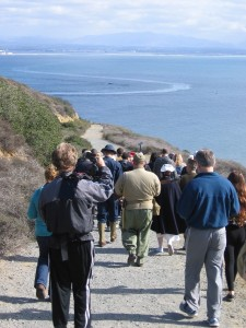 21 A group walks down the Cabrillo Bayside Trail on a beautiful December day.