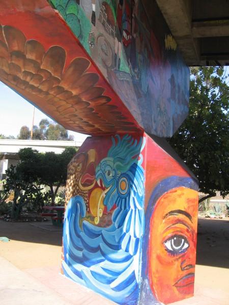 22 Painted pillar supports ramp from Coronado Bridge to I-5 freeway.