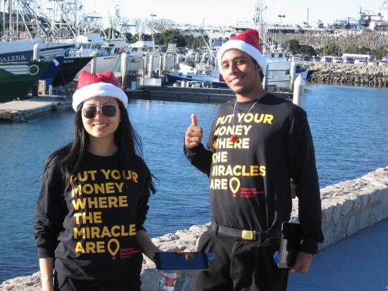 Children's Miracle Network volunteers near Tuna Pier.