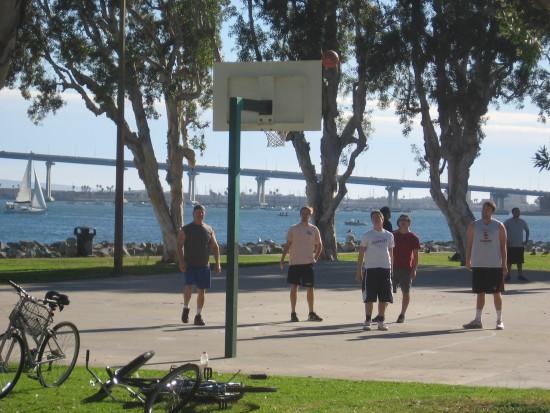 Basketball game at Embarcadero Marina Park South.