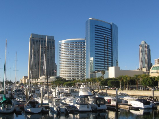 Beautiful hotels along San Diego Bay.