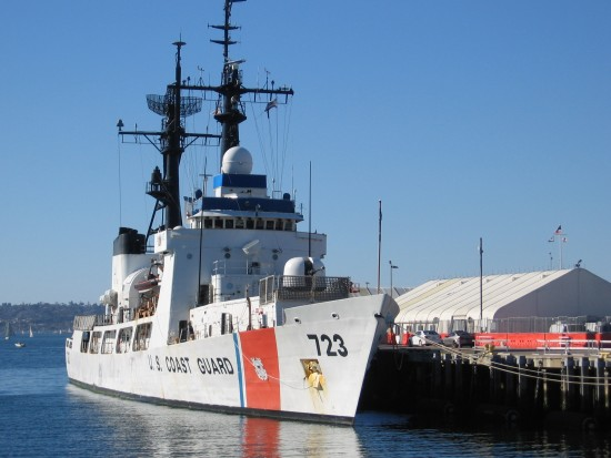 Coast Guard cutter docked at San Diego Cruise Ship Terminal.