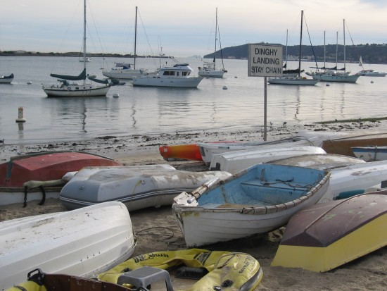 colorful boats beached on shelter island