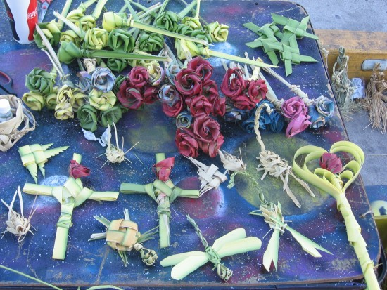 Corn husk roses, crosses, scepters and dragonflies.