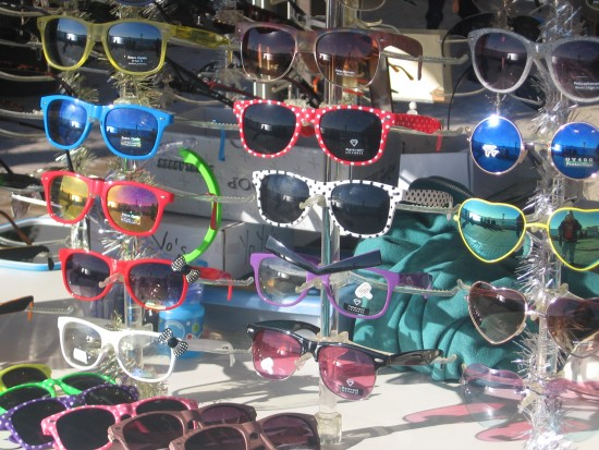 Dazzled by sunglasses shining in the sun.