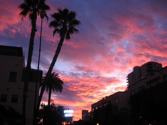 Fiery sunrise over Cortez Hill in downtown San Diego.