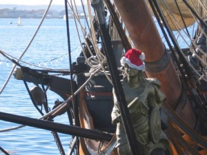 Figurehead of the HMS Surprise wears a Santa hat!