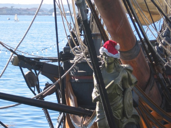Figurehead of the HMS Surprise wears a Santa hat!