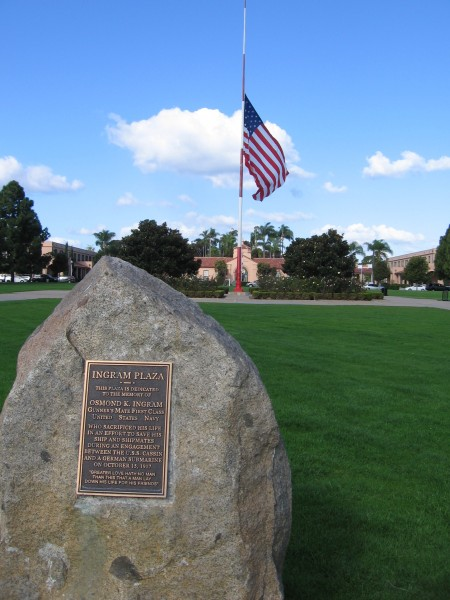 Flag at half mast at Ingram Plaza.