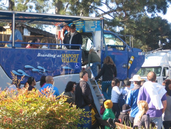 Folks board the Seal Tour amphibious vehicle for a harbor adventure.