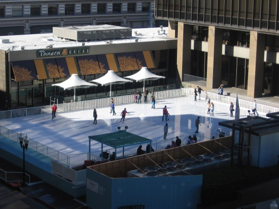 Ice skating rink seen from upper level of Horton Plaza.