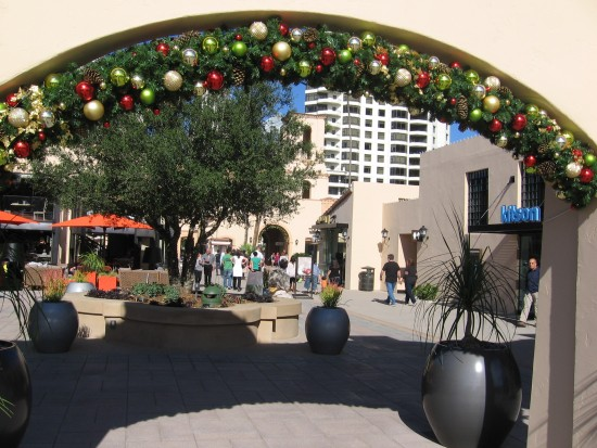Looking through festive arch at The Headquarters.