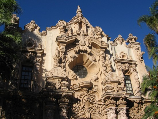 Ornate plaster designs on Spanish Colonial Revival buildings.
