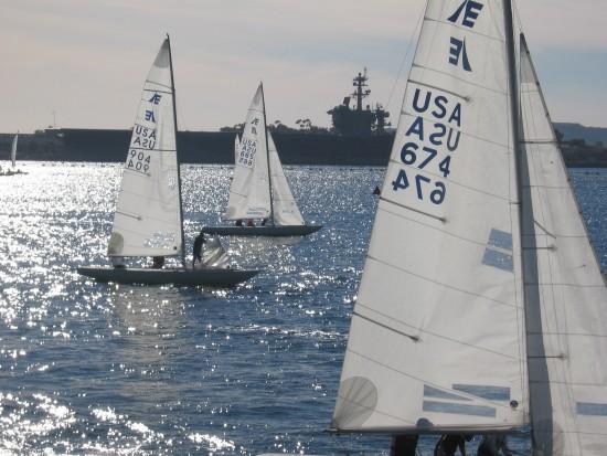 Sailboats on shining San Diego Bay.