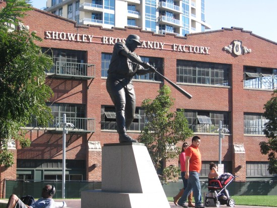 Tony Gwynn statue with Showley Bros. Candy Factory in background.