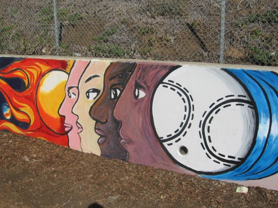 01 Mural behind Chicano Park basketball court.