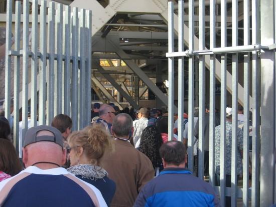 Crowd enters Petco Park for Jerry Coleman memorial service.
