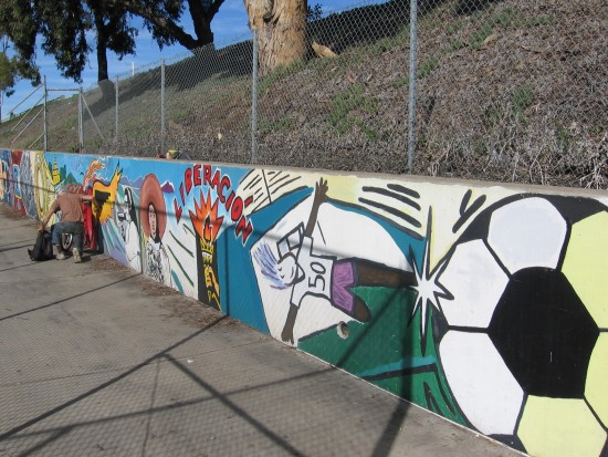 02 Mural behind Chicano Park basketball court.