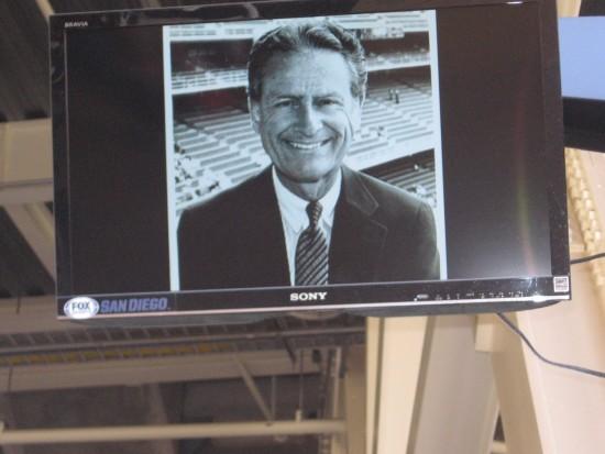 Petco Park screens show photos of Colonel Coleman.