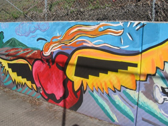 Long mural behind chicano park basketball court cool for Basketball court mural