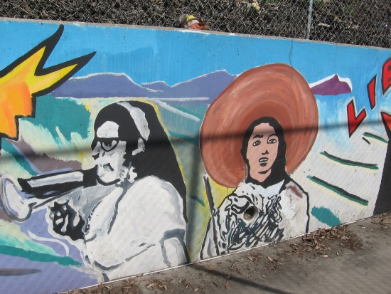04 Mural behind Chicano Park basketball court.