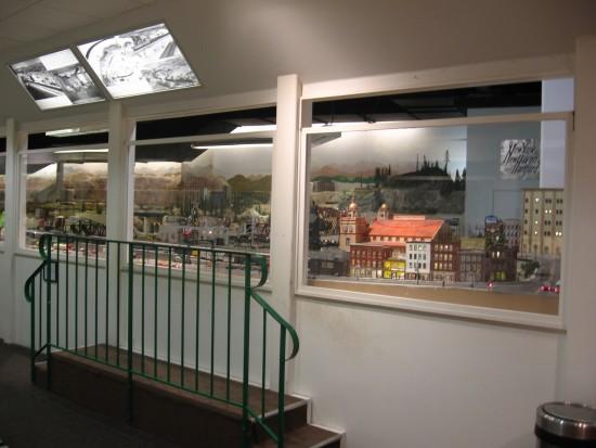 Windows to the big Cabrillo Southwestern O Scale exhibit.