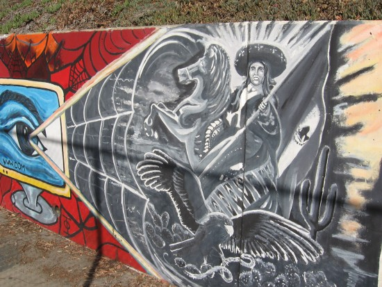 05 Mural behind Chicano Park basketball court.