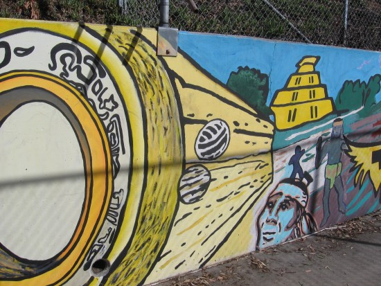 06 Mural behind Chicano Park basketball court.