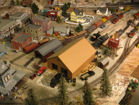 The elaborate O Scale exhibit is full of train action!