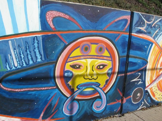 Long mural behind chicano park basketball court cool for Basketball court wall mural
