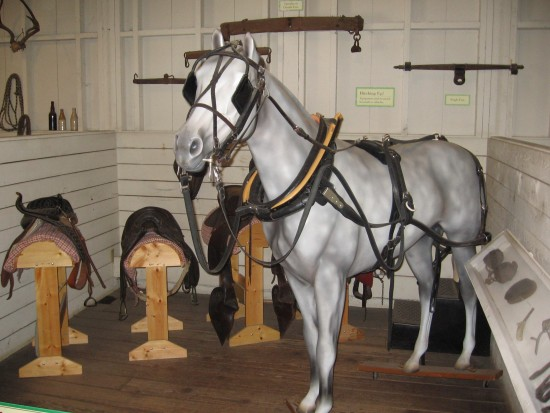 Museum display with horse and saddles recreates the old stable.