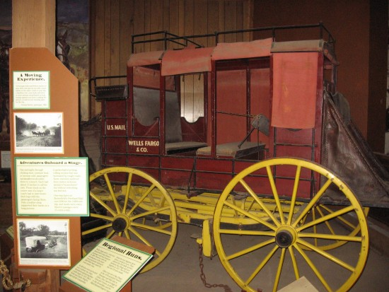 Old Wells Fargo wagon once used to transport the mail.