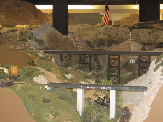 HO Scale bridges and a detailed mountain scene.