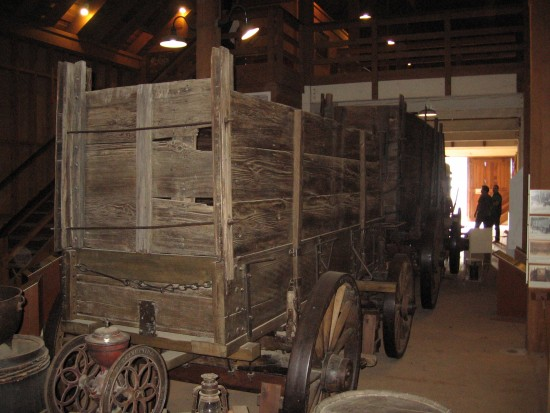 Huge freight wagon on display at Seeley Stable.